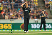Matt Henry of New Zealand reacts after being hit for six during the second ODI in Canberra. Photo /Getty