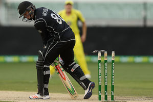 Henry Nicholls of New Zealand is bowled by Mitchell Starc of Australia. Photo / Getty