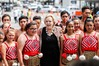 Minister Judith Collins was in Napier yesterday for the opening of the new Napier police station she is pictured with students from Maraenui.