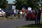 A group of around 30 protestors gathered outside Brian Tamaki's Destiny Church on Sunday afternoon. Outraged by the comments, the self proclaimed Bishop had made about their community after the recent earthquake.