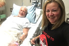 Buzz Aldrin, with his manager Christina Korp, in Christchurch hospital after being is evacuated from Antarctica. Photo / Supplied