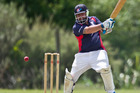 Experienced Geyser City first XI player Pete Walters in action for his side against Te Puke on the weekend. PHOTO STEPHEN PARKER.