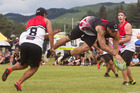 Te Arawa open men's player Jaz Inia-McGarvey in action for his side against Wairere in the premier final at the 2016 Maori Touch Nationals Tournament. PHOTO/STEPHEN PARKER