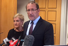 Labour Party leader Andrew Little comments on the resignation of John Key as Prime Minister of New Zealand. Photo / Isaac Davison