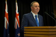 Prime Minister John Key announcing his decision to resign and stand-down from politics. Photo / Mark Mitchell