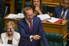 Labour leader Andrew Little in full cry during the urgent debate over the resignation of Prime Minister John Key. Photo / Mark Mitchell