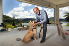 TOP SPOT: Dennis Falconer and dog Benson at the Lake Okareka cottage he and wife Evelyn are extending. PHOTO/BEN FRASER