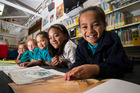 Gearing up for the Dare to Explore programme at Dawson Primary in Otara. From left: Kiridyn Howe, 6, Genesis Howe, 7, Carlynne Taitua, 7, Sativa Deer, 8, and Taylor Tapara, 8. Picture / Jason Oxenham