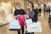 Liz Harden from Sylvia Park and Megan Hill-West with her shopping. Photo / Greg Bowker