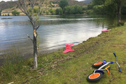 The scene at Lake Dunstan near Cromwel this afternoon after a man drowned. Photo / James Allan
