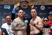 Andy Ruiz Jr (L) and Joseph Parker, Fighters weigh in before the December 10, Parker v Ruiz, WBO world boxing heavyweight title fight. Photo / Photosport.co.nz