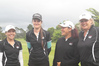 HAPPY CAMPERS: HBPB amateur rep golfers Angela Jones (left), Tessa McDonald, Jaimie McIvor, Sara Deam and Janie Field after they beat Waikato in New Plymouth yesterday. PHOTO/SUE SOWERBY