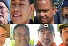 Victims of the Francie Kaipara fishing tragedy. Skipper Bill McNatty; Sunia Onga' unga; Alipate Manumu'a; Aue Aria. Bottom row L-R: Tevita Tangi; Fonau Taufa; Fred Marsters and Taulagi Afamasaga.