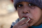 A Syrian boy displaced with his family from eastern Aleppo in the village of Jibreen south of Aleppo, Syria. Photo / AP