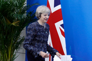 British Prime Minister Theresa May arrive for a press conference. Photo / AP