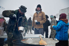 Veterans have joined the anti-pipeline protests in Cannon Ball, North Dakota, where winter is setting in. Photo / AP