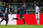 Auckland City's Kim Daewook, center, celebrates after scoring a goal against Kashima Antlers during their match at the FIFA Club World Cup. Photo / AP.