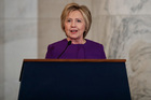 Former Secretary of State Hillary Clinton speaks during a ceremony to unveil a portrait of Senate Minority Leader Harry Reid, D-Nev.. Photo / AP