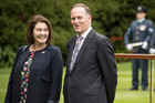 Bronagh Key with her husband New Zealand Prime Minister John Key as they wait to greet Sri Lankan Prime Minister Ranil Wickremesinghe in October. Photo / Greg Bowker