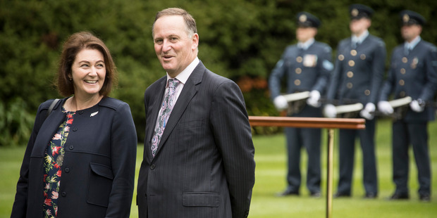 Loading Bronagh Key with her husband New Zealand Prime Minister John Key as they wait to greet Sri Lankan Prime Minister Ranil Wickremesinghe in October. Photo / Greg Bowker