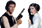 Hans Solo (Harrison Ford) and Princess Leia (Carrie Fisher) promotional image for the original Star Wars movie. Photo / Supplied