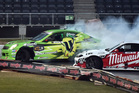CLOSE TUSSLE: Tauranga drivers Cole Armstrong, left, and Drew Donovan during the final at Forsyth Barr Stadium. PHOTO/Otago Daily Times