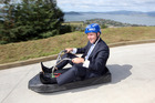 Prime Minister John Key opens new luge track at Skyline Skyrides in 2009. PHOTO/FILE