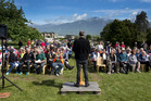 Kaikoura residents gathered for a special open-air church service in the days after the 7.8 quake. Photo / Alan Gibson