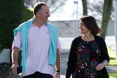 John Key, with his wife Bronagh, walk to their local coffee shop. Photo / Brett Phibbs