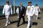 John Key inspects the US navy ship USS Sampson. Photo / Nick Reed.