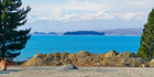 View of Motuariki Island in Lake Tekapo. Two young tourists drowned on the lake in 2015.