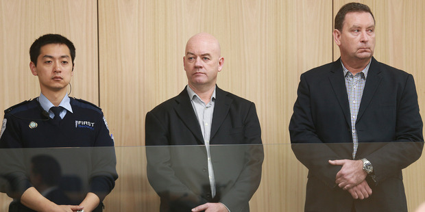Loading Stephen Borlase (centre) was found guilty on eight charges, but not guilty of four charges. Murray Noone was found guilty on six charges. Photo / Doug Sherring