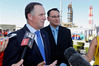 John Key and Shane Reti face reporters during a March visit to Whangarei's Marsden Point Oil Refinery. PHOTO/JOHN STONE