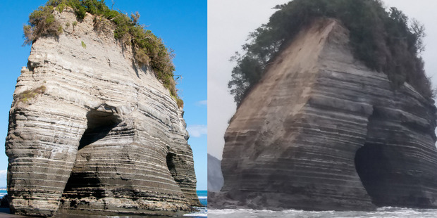 A piece of an iconic North Taranaki rock formation - Elephant Rock - has lost its trunk. On the left, as it used to look. On the right, as it looks now.