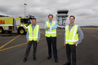 Hawke's Bay Airport CEO Nick Story is flanked by new infrastructure manager Graham Eagles (L) and new commercial manager Dean Smith. Photo / Paul Taylor