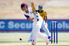 Bella Homes Northland batsman Cam Gordon gets forward at the Northern Districts Junior Secondary Boys tournament.