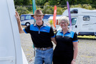 Northcity Caravans owners Peter and Wendy Dempster at their salesyard just north of Piano Hill. Photo / John Stone