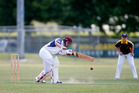 Opening batter Sam Webb on his way to 45 against Bay of Plenty Lakelands. PHOTO/MICHAEL CUNNINGHAM