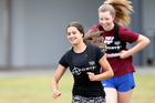 Gymnastics Aerobics athlete Ruby Reed, 15, of Whangarei is chased by spear fisher Alex Edwards, 15, of Kerikeri during the GPS tracking session at the ASB Performance Pathway. Photo / Michael Cunningham
