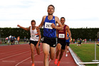 STAR ACT: Nick Willis wins the Allan Potts Memorial 800m at last year's Potts Classic from runner-up Brad Mathas (left) and Australian Craig Huffer. PHOTO/Hastings Athletics Club
