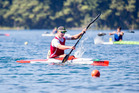 Poverty Bay's Quaid Thompson on his way to victory in the men's K1 1000m at the Blue Lakes canoe sprint regatta near Rotorua on the weekend. Photo/Jamie Troughton/Dscribe Media