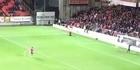Watch: Watch: One-legged football fan wins half-time challenge
