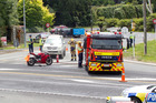 Emergency services attended a car verses motorcycle crash about 11.45am which backed up traffic along SH2 for hours at the intersection of Omokoroa Rd. Photo/Ruth Keber