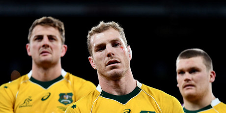 David Pocock of Australia (C) looks dejected after the final whistle during the Old Mutual Wealth Series match between England and Australia. Photo / Getty Images.