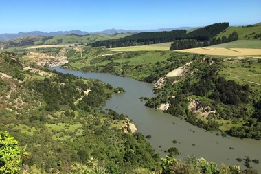 Lake Rebekah, as it's been called by the owners of the property it's on, was formed when the Leader River was dammed by a landslip during the Kaikoura earthquake. Photo / David Kelly
