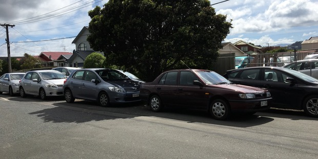 Many cars are double parked, or parked across berms. Photo / Frances Cook