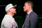 Today's official press conference featuring Joseph Parker (left) and Andy Ruiz Jr gave off an atmosphere of intent and quiet determination. Photo / Photosport