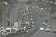 Traffic is banking up after a five car pile-up blocked two lanes on Auckland's Northern Motorway.  Photo / NZTA