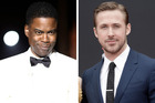 Ryan Gosling, right, had an awkward encounter backstage at this year's Oscars with host, Chris Rock.