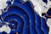 Tsunami travel time contours in hours, beginning from the earthquake origin time. Photo / Potential Tsunami Warning Center